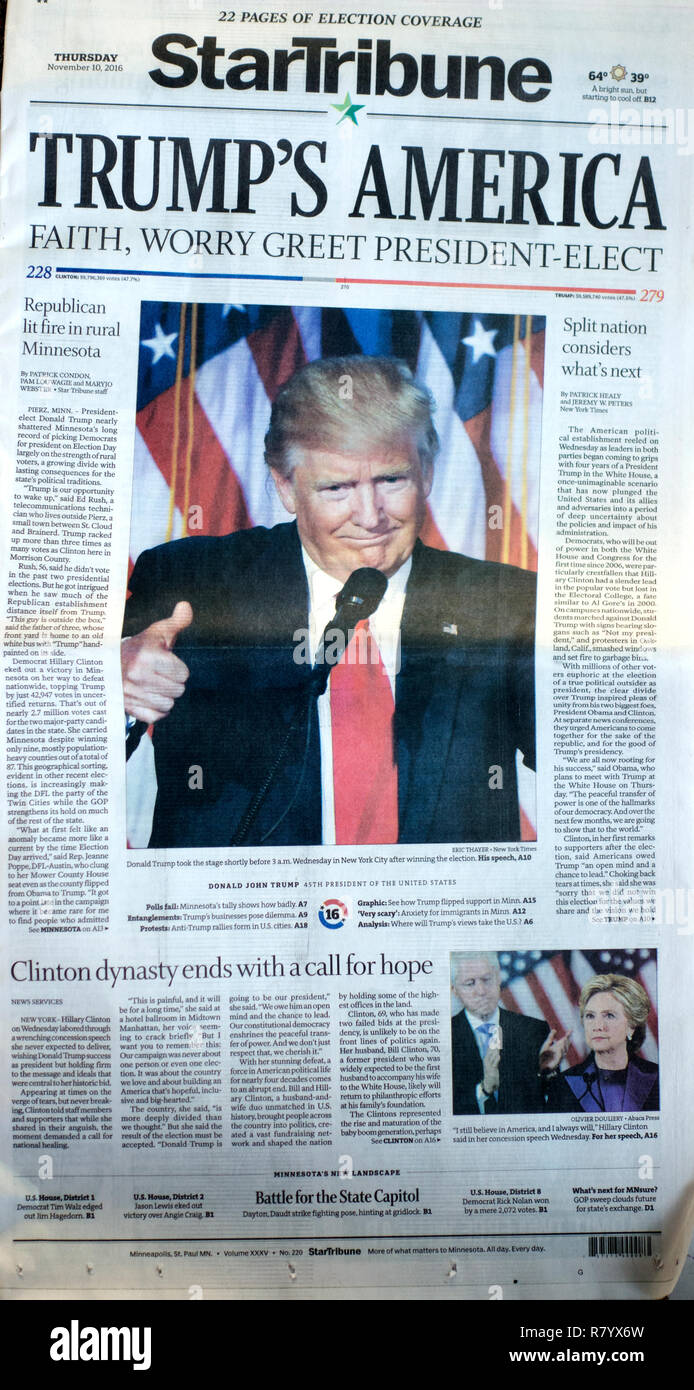 StarTribune Newspaper 11/10/16 front page headline showing 'Trumps America' Presidency with concerns of faith and worry. St Paul Minnesota MN USA - Stock Image