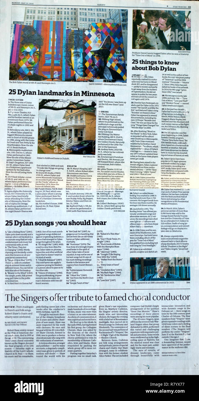 StarTribune newspaper 5/20/16 reporting on 25 landmarks, songs and things you should know about Bob Dylan.  St Paul Minnesota MN USA - Stock Image