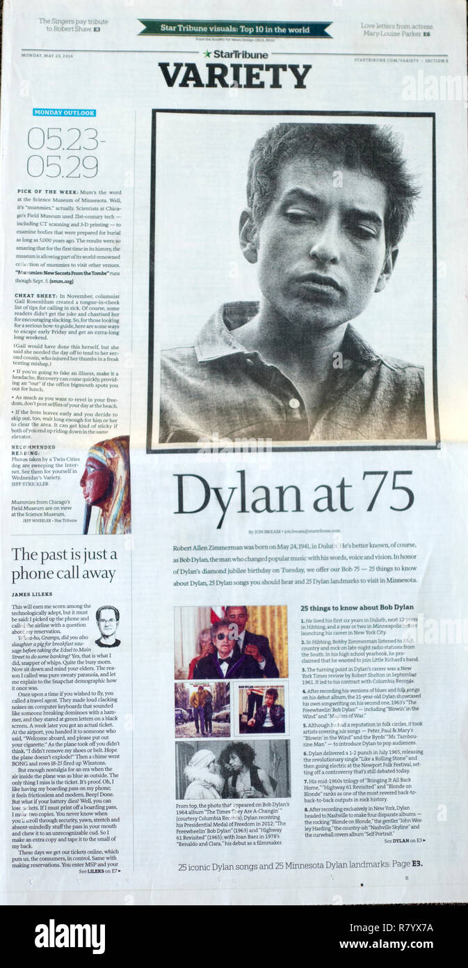 StarTribune Newspaper 5/23/16 honoring Bob Dylan at 75 listing things to know about him. St Paul Minnesota MN USA - Stock Image