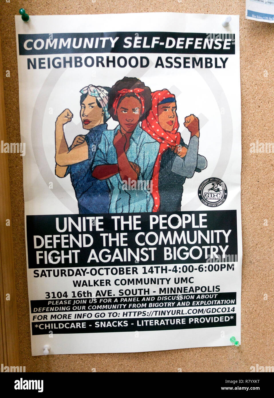 Multicultural women on a poster advertising self-defense for a community fight against bigotry. Minneapolis Minnesota MN USA - Stock Image