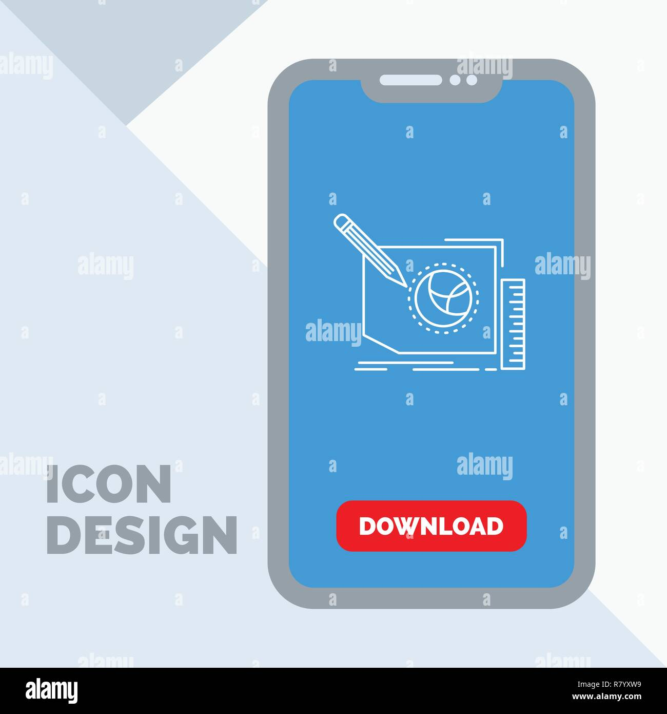 Content, design, frame, page, text Line Icon in Mobile for