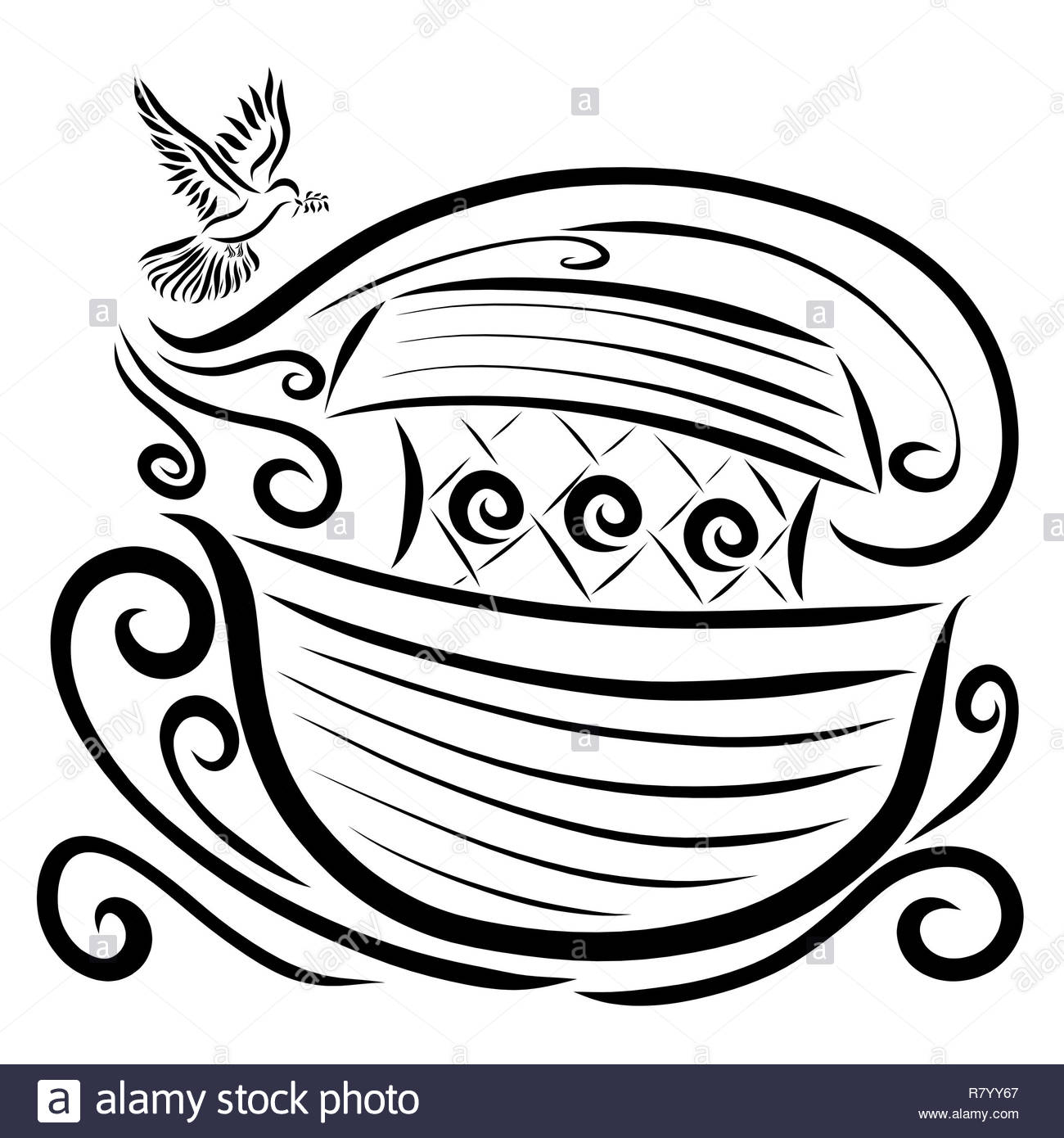 A dove with a sprig in its beak flies toward the ark, the wind blows water Stock Photo
