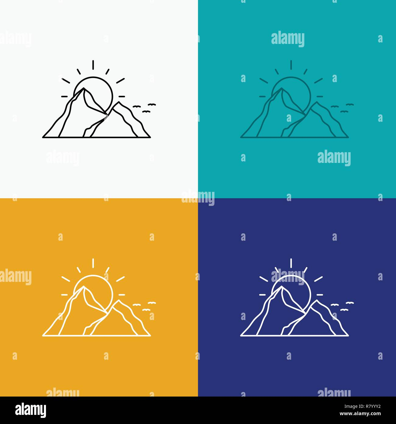 hill, landscape, nature, mountain, sun Icon Over Various Background. Line style design, designed for web and app. Eps 10 vector illustration - Stock Vector