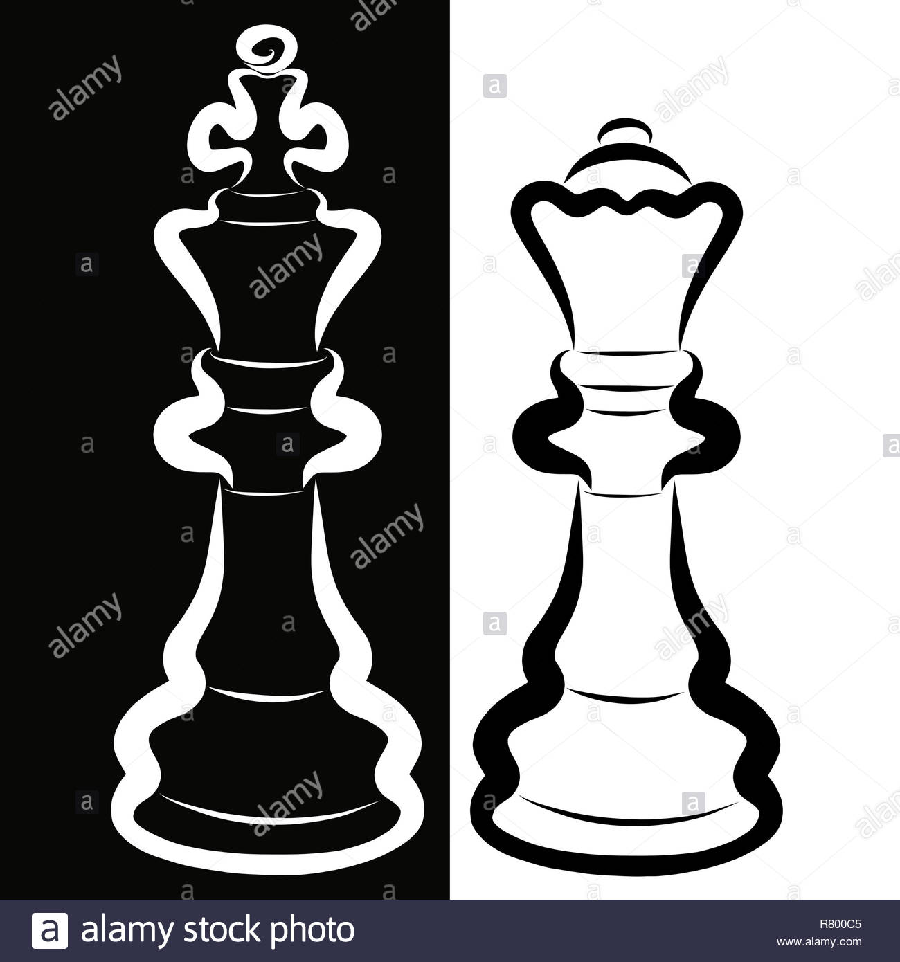 Contrast couple white king and black queen chess pieces