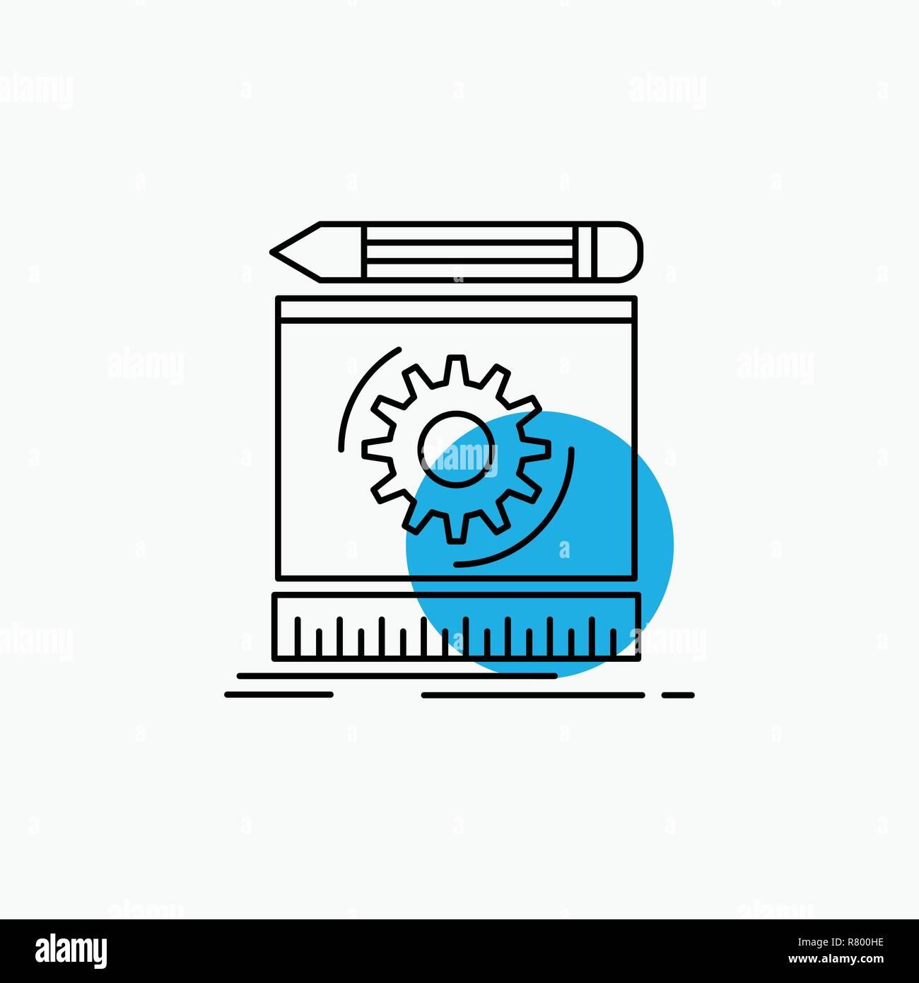 Draft, engineering, process, prototype, prototyping Line Icon - Stock Vector