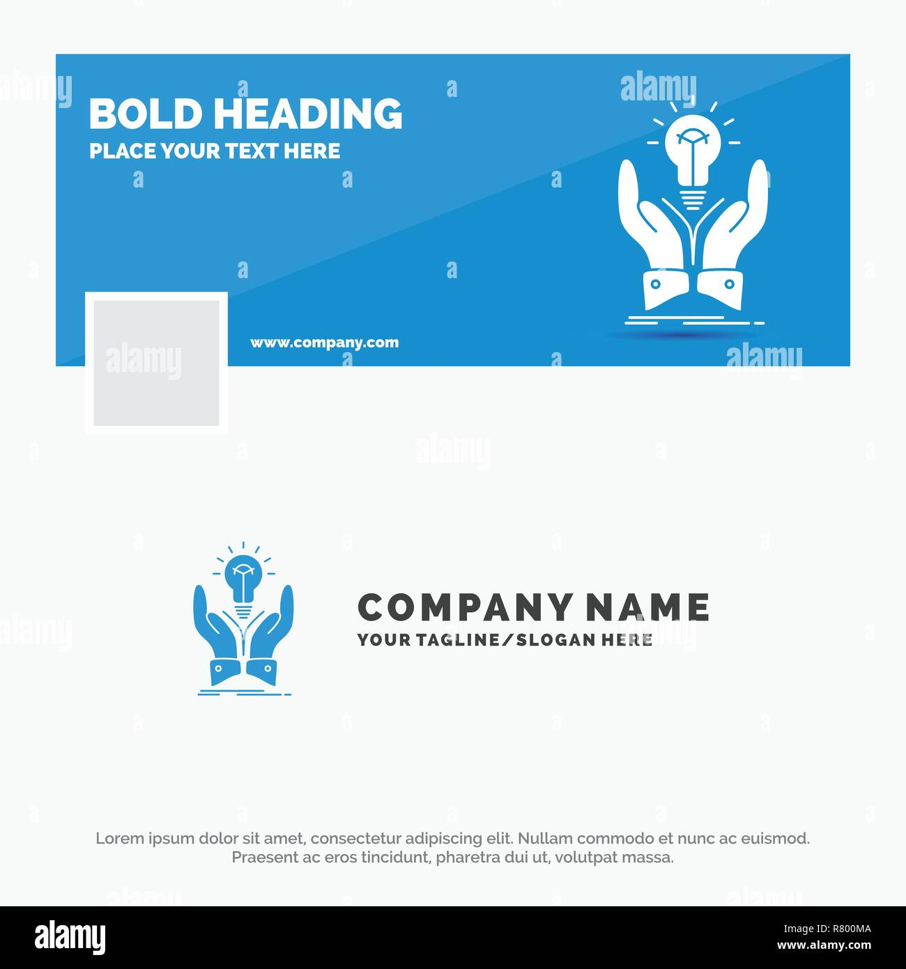 Blue Business Logo Template for idea, ideas, creative, share, hands