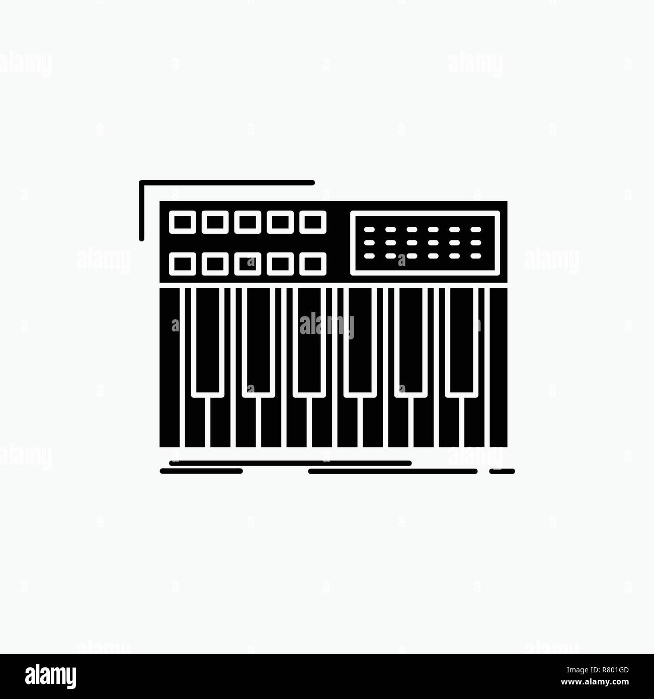 synth, keyboard, midi, synthesiser, synthesizer Glyph Icon. Vector isolated illustration - Stock Image
