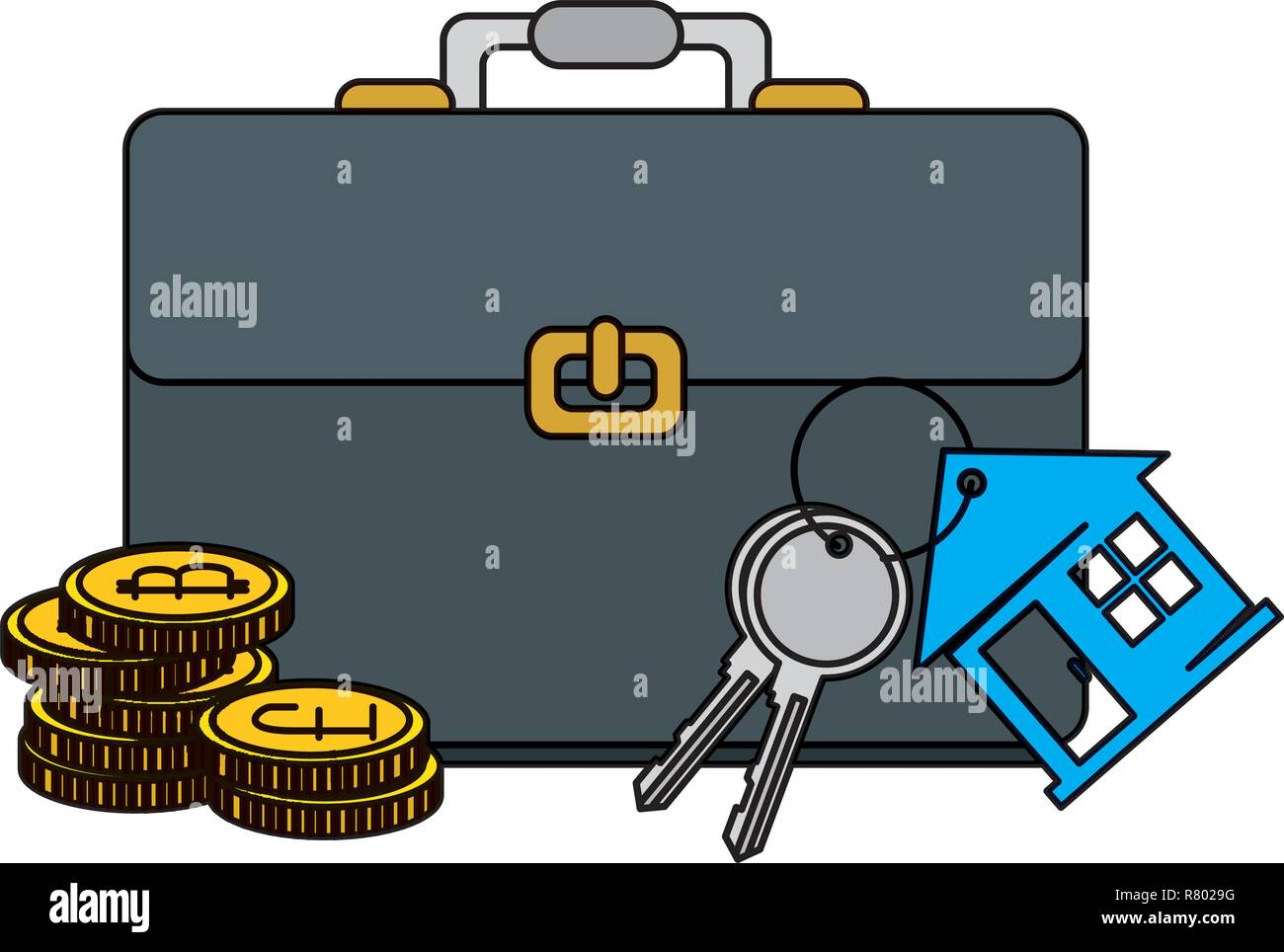 keys of house property with briefcase and bitcoins vector illustration Stock Vector