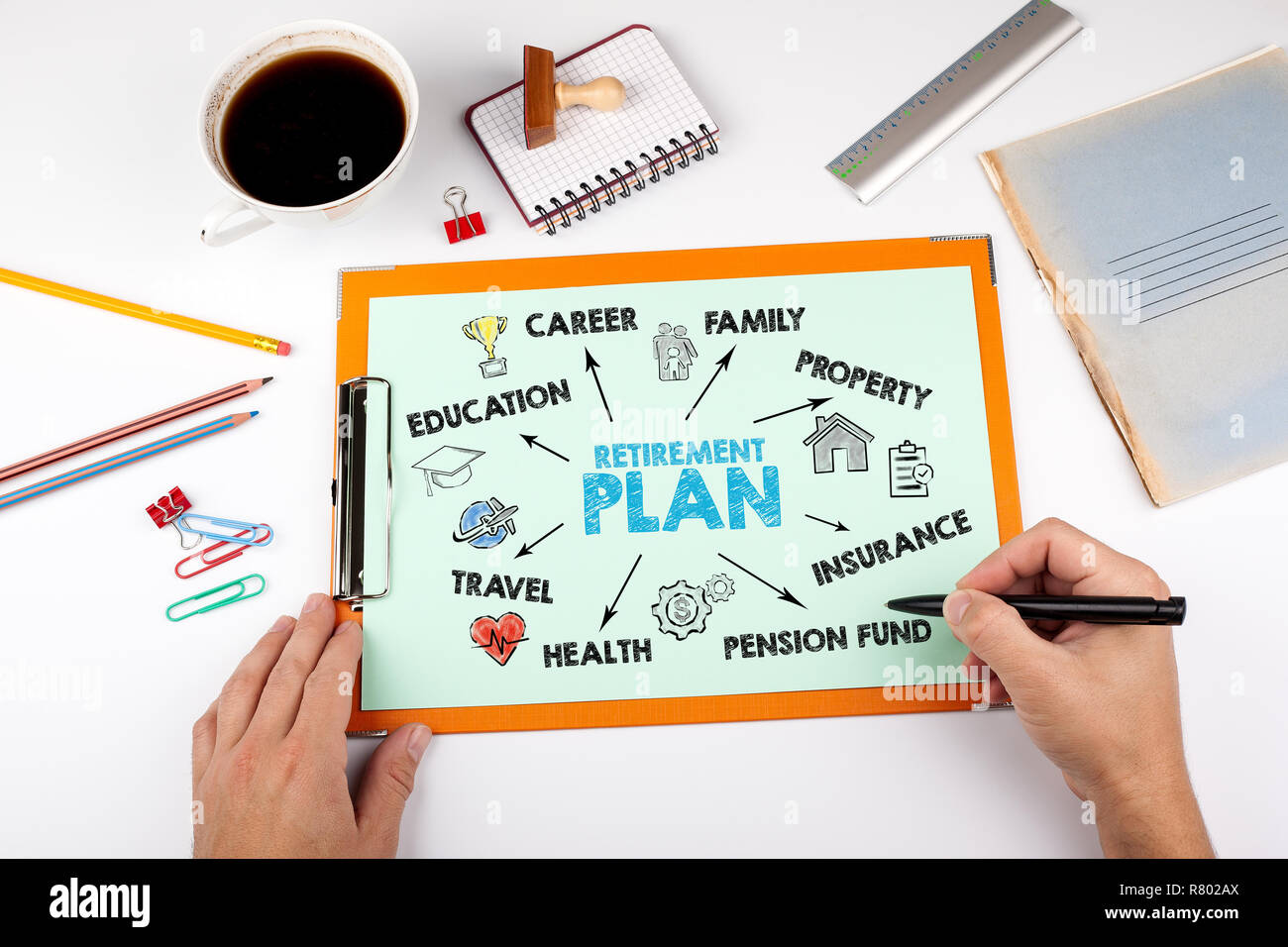 Retirement Plan concept. Chart with keywords and icons - Stock Image