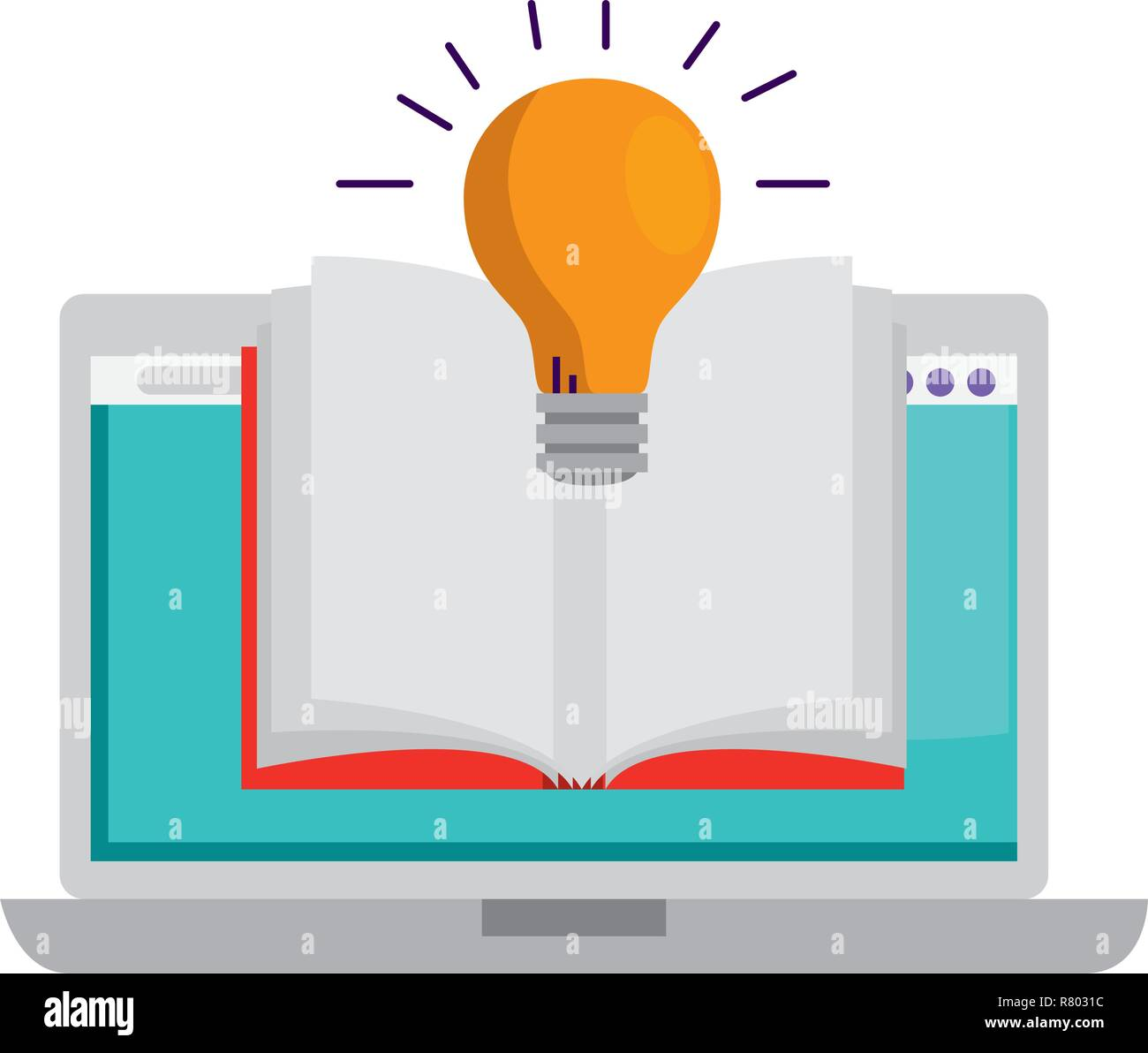 laptop with ebook and bulb - Stock Image