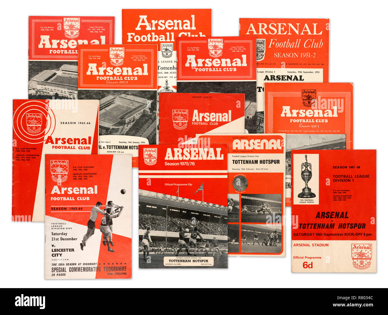 A collection of Arsenal Football Club official programmes from the 1950's 1960's and 1970's (digital composite) - Stock Image
