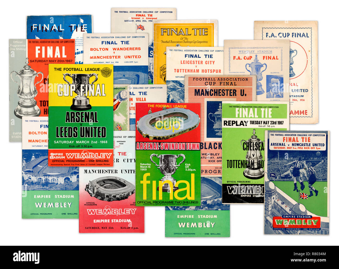 A collection of FA Challenge Cup Final official programmes from the 1930's 1940's 1950's and 1960's (digital composite) - Stock Image