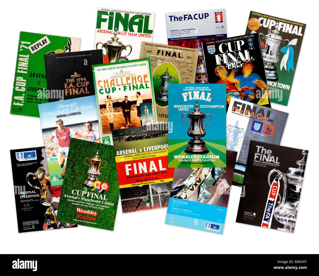 A collection of FA Challenge Cup Final official programmes from the 1970's 1980's 1990's and 2000's (digital composite) - Stock Image