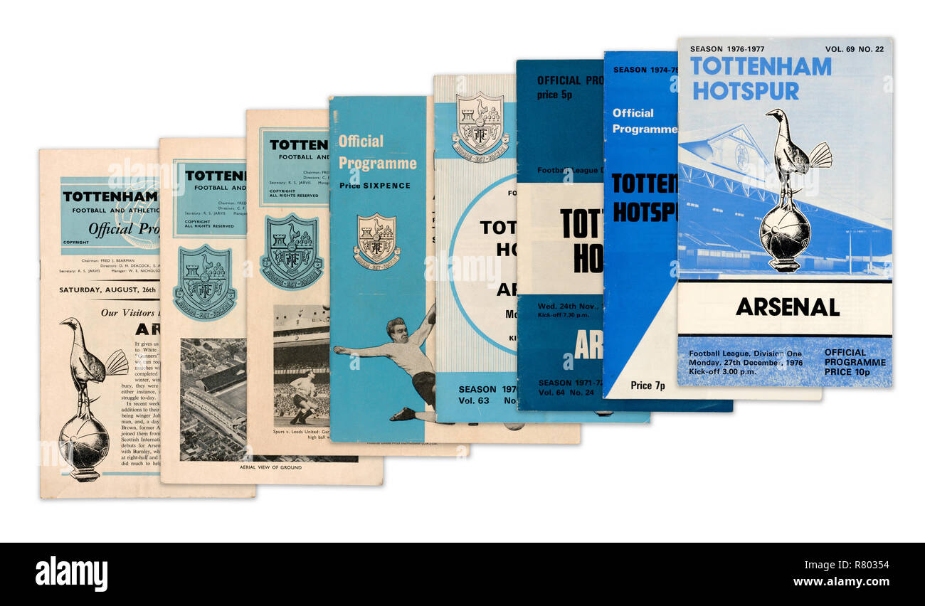 A collection of Tottenham Hotspur Football Club official programmes from the 1960's and 1970's (digital composite) - Stock Image