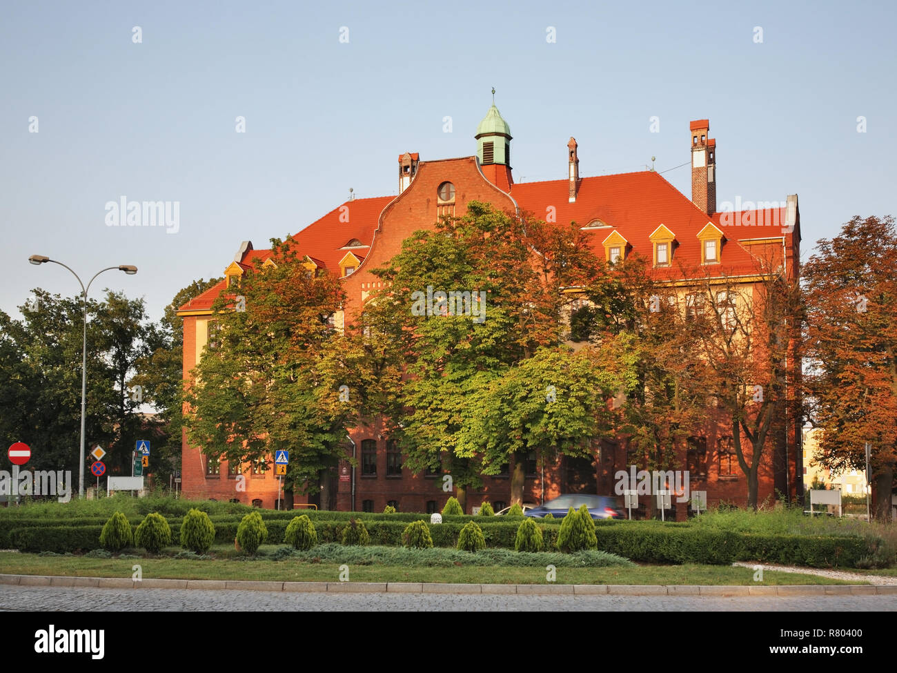 Junior high school No. 1 in Inowroclaw. Poland - Stock Image