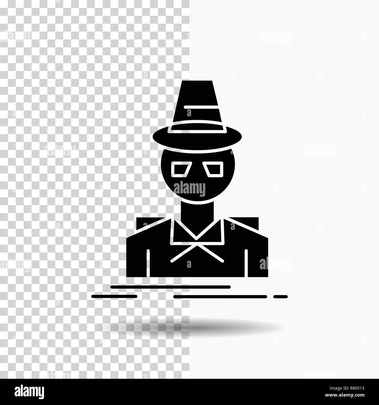 Detective Hacker Incognito Spy Thief Glyph Icon On Transparent Background Black Icon Stock Vector Image Art Alamy