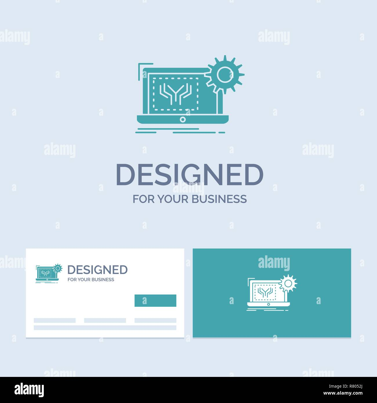 Blueprint, circuit, electronics, engineering, hardware Business Logo Glyph Icon Symbol for your business. Turquoise Business Cards with Brand logo tem - Stock Image