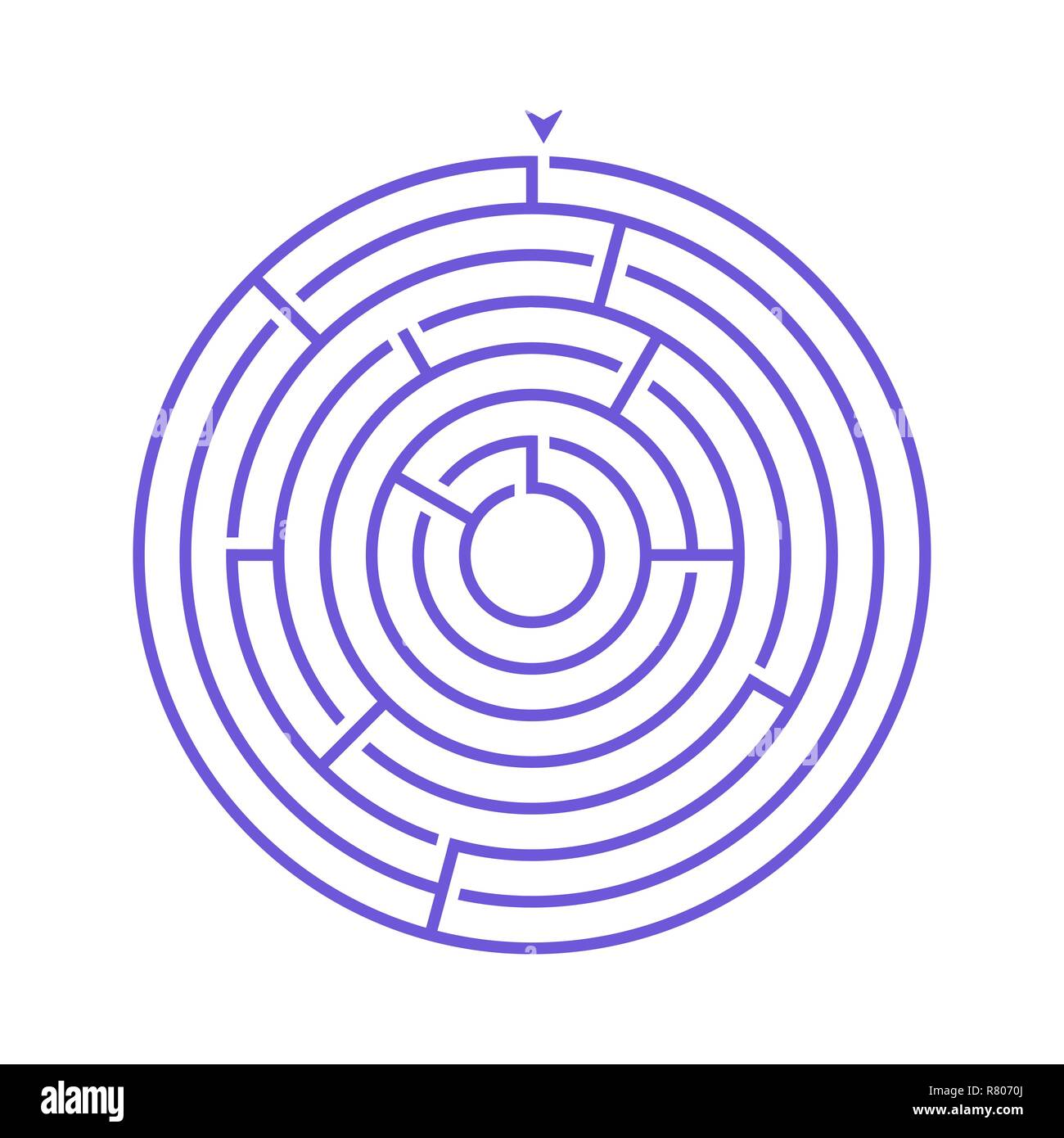 Simple round maze labyrinth game for kids. One of the puzzles from the set of child riddles Stock Vector