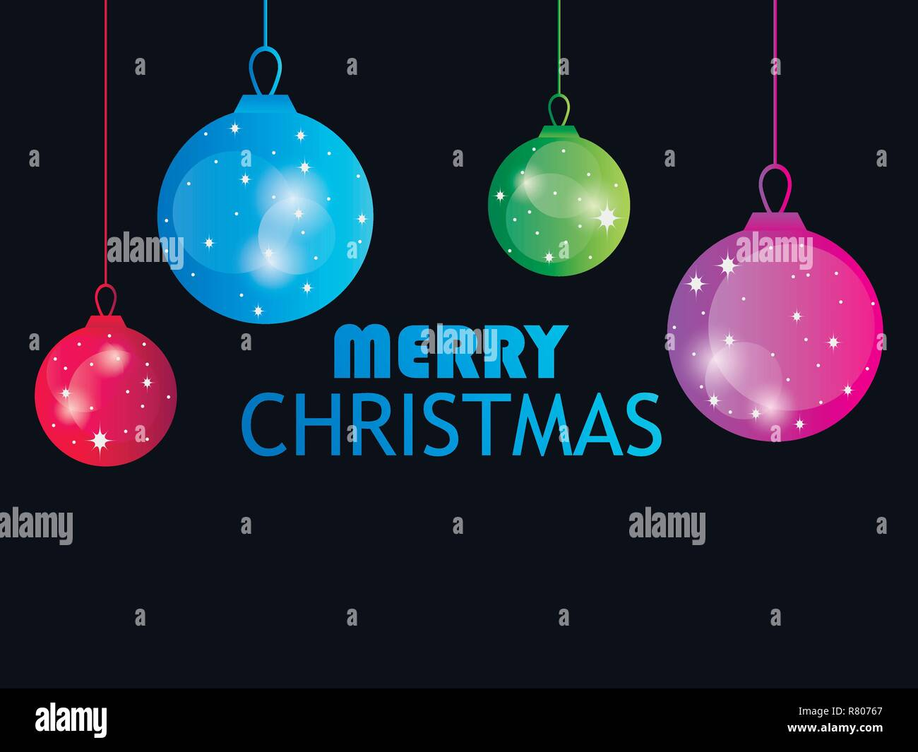 Merry Christmas. Hanging Christmas balls on black background. Multi colored gradient. Bokeh effect. Vector illustration - Stock Vector