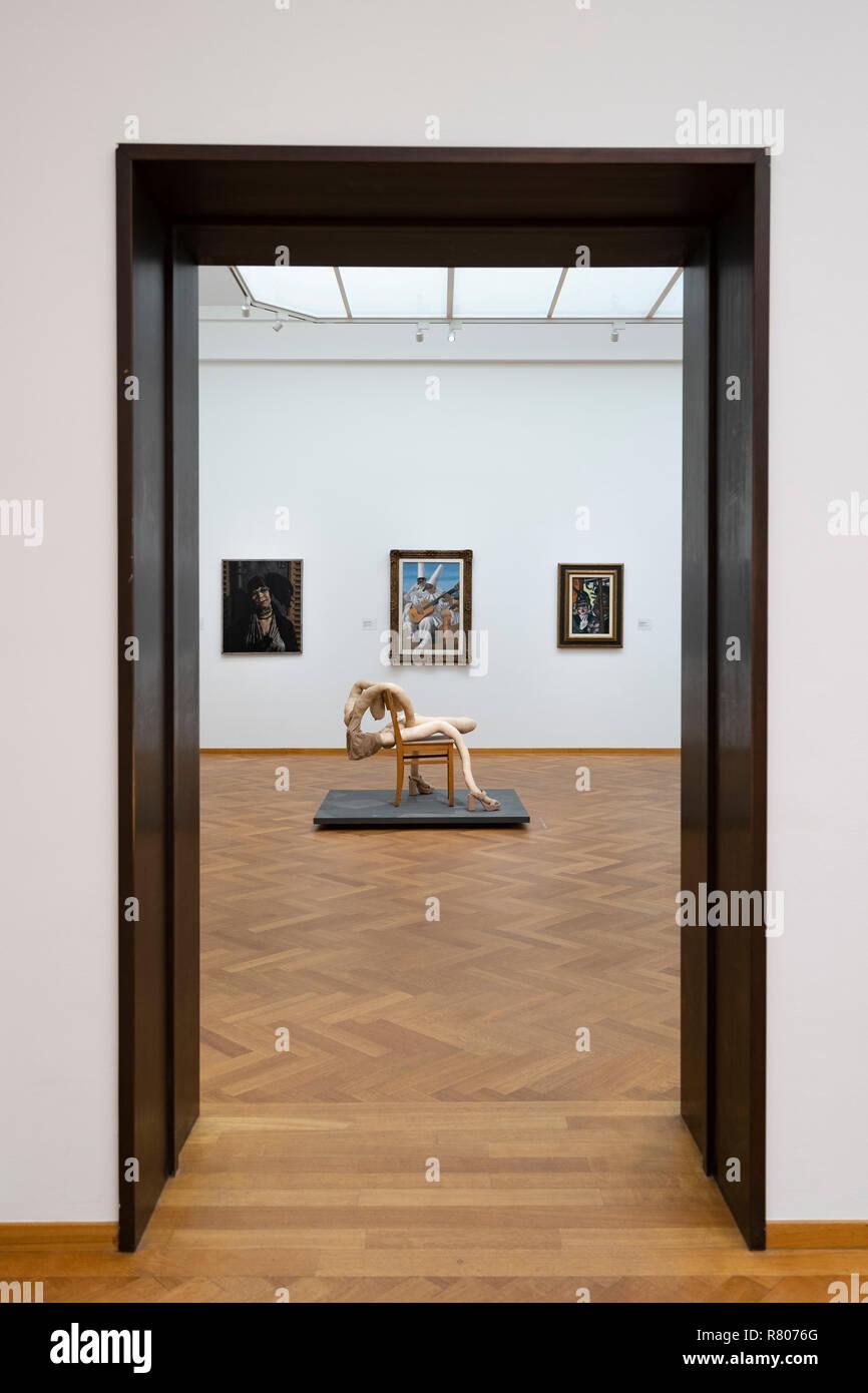 View through door to modern sculpture Nobby Bloke at the Gemeentemuseum in The Hague, Den Haag, The Netherlands - Stock Image