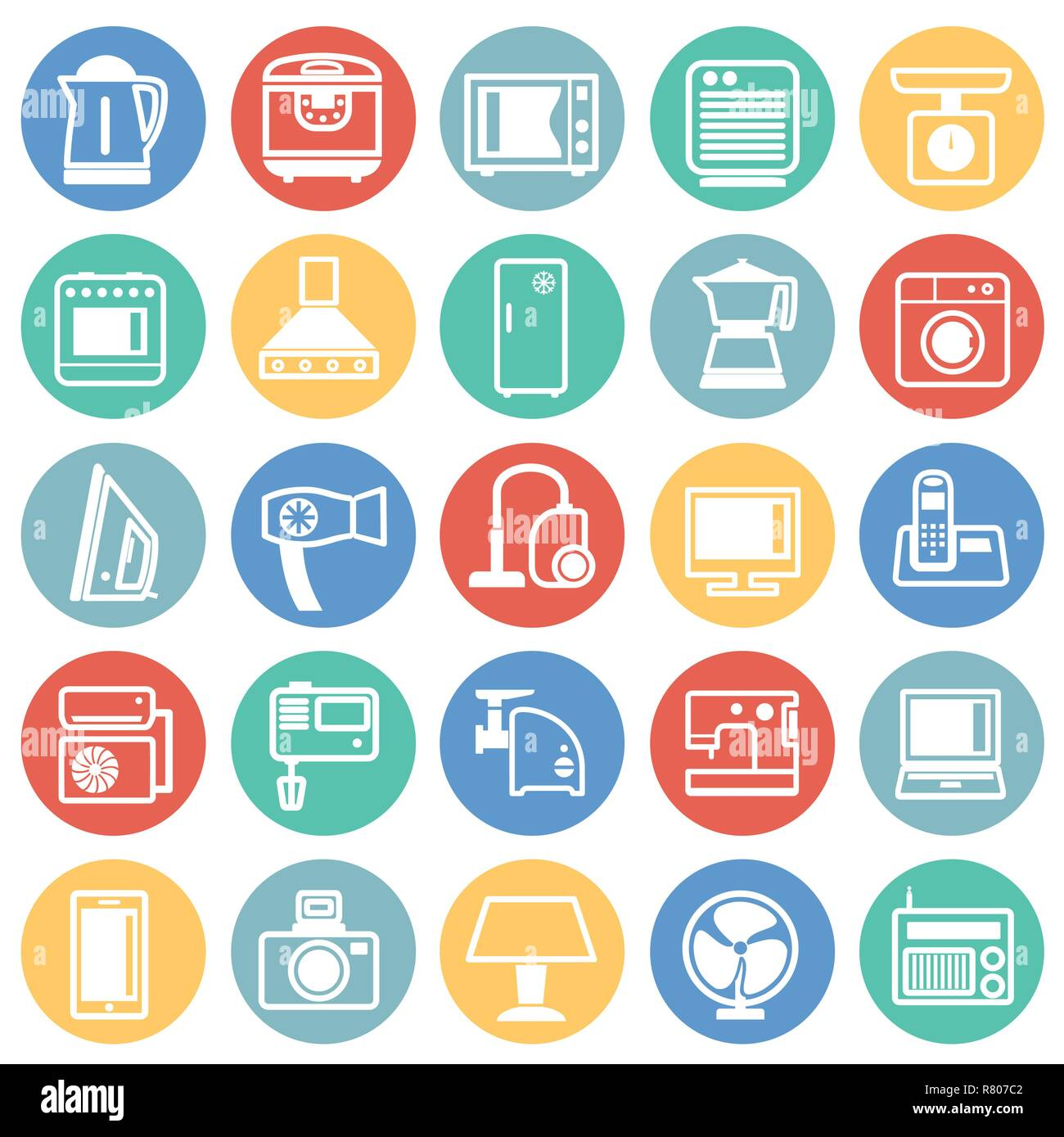 Home appliance icons set on color circles background for