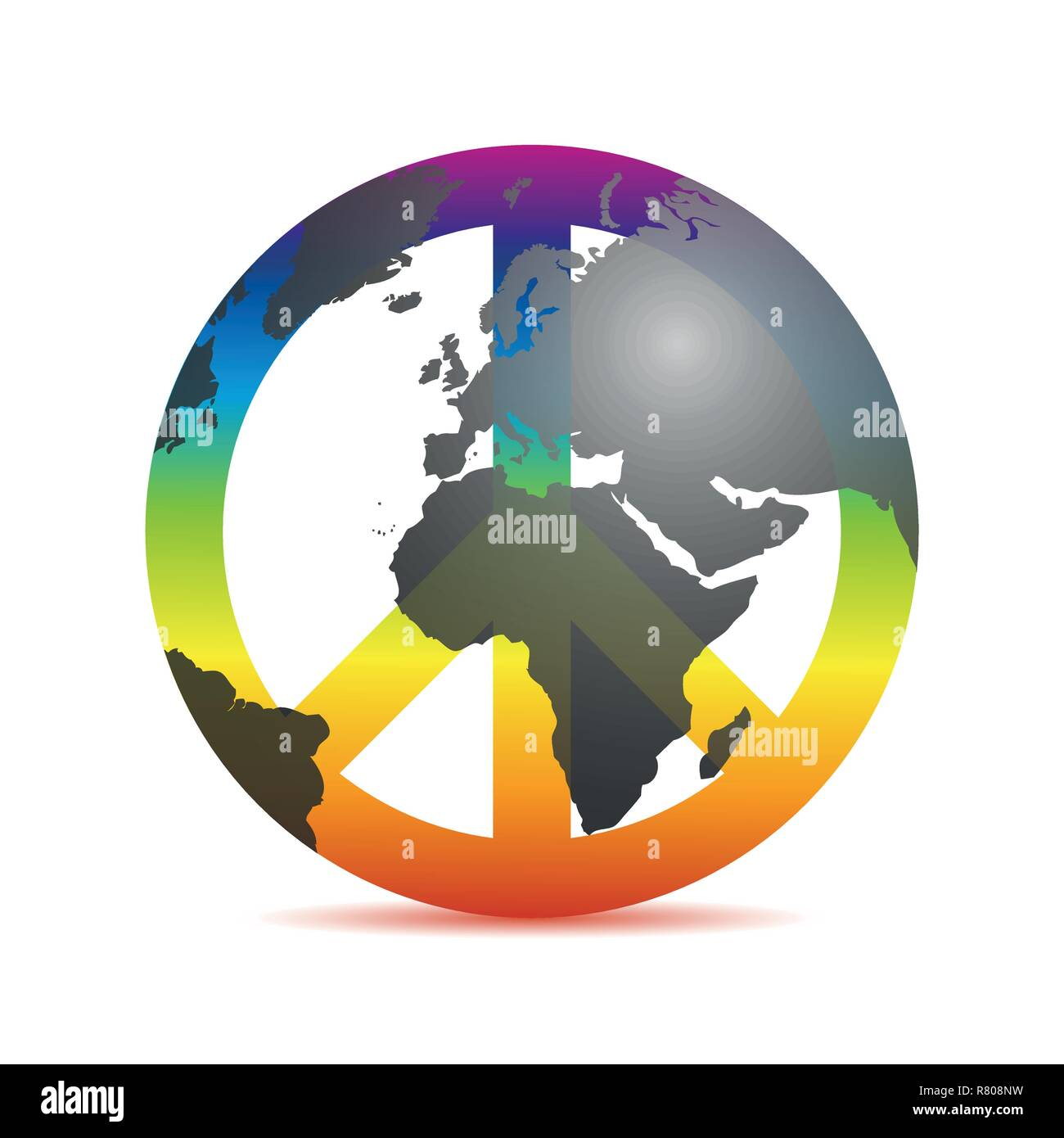 universal peace colorful symbol with earth in rainbow colors vector illustration EPS10 Stock Vector