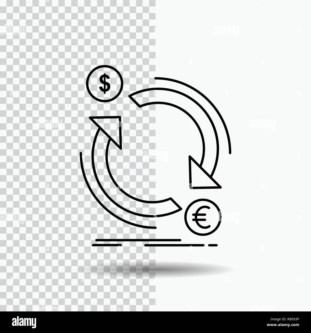 exchange, currency, finance, money, convert Line Icon on Transparent