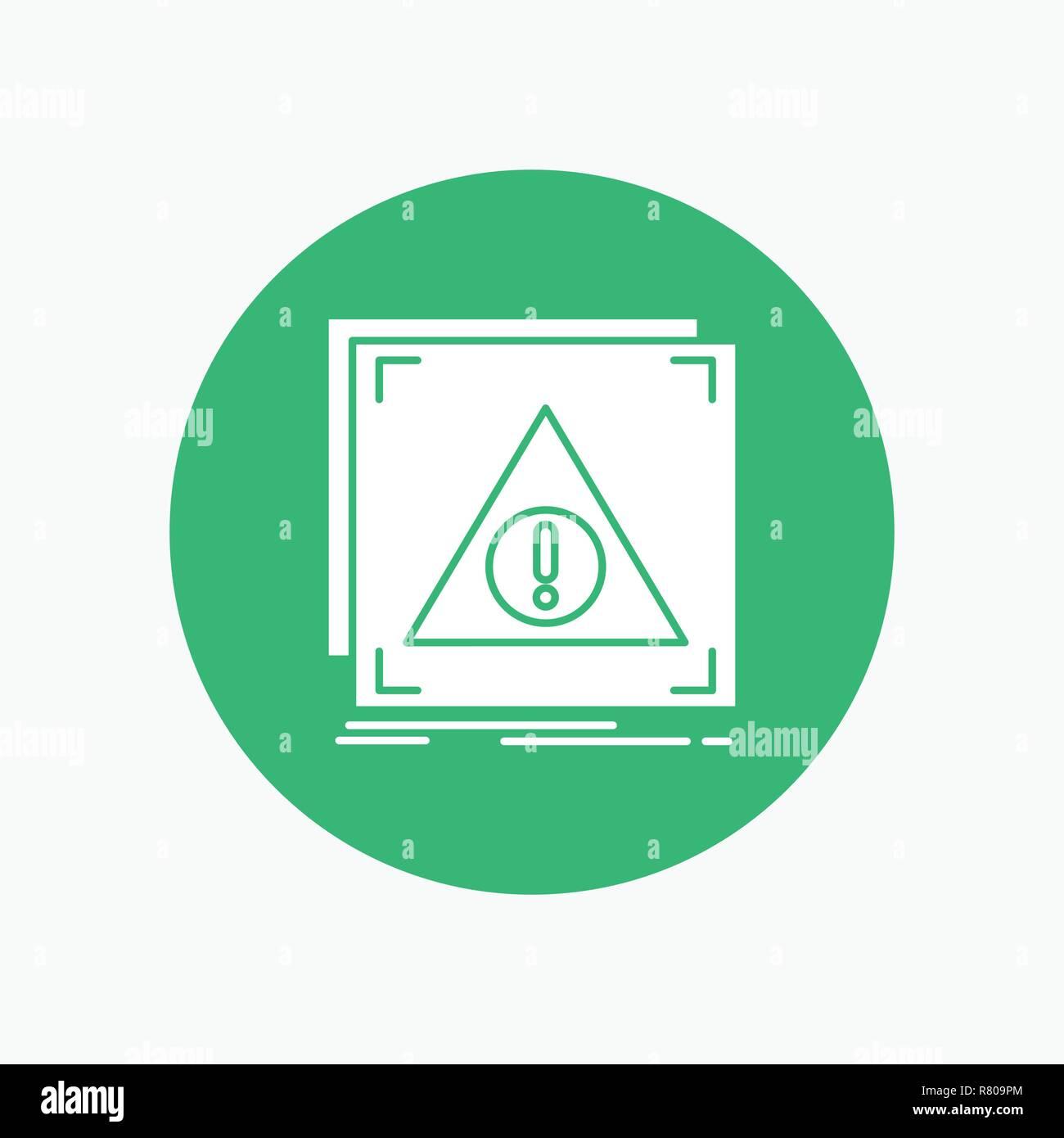 Error, Application, Denied, server, alert White Glyph Icon in Circle. Vector Button illustration - Stock Image