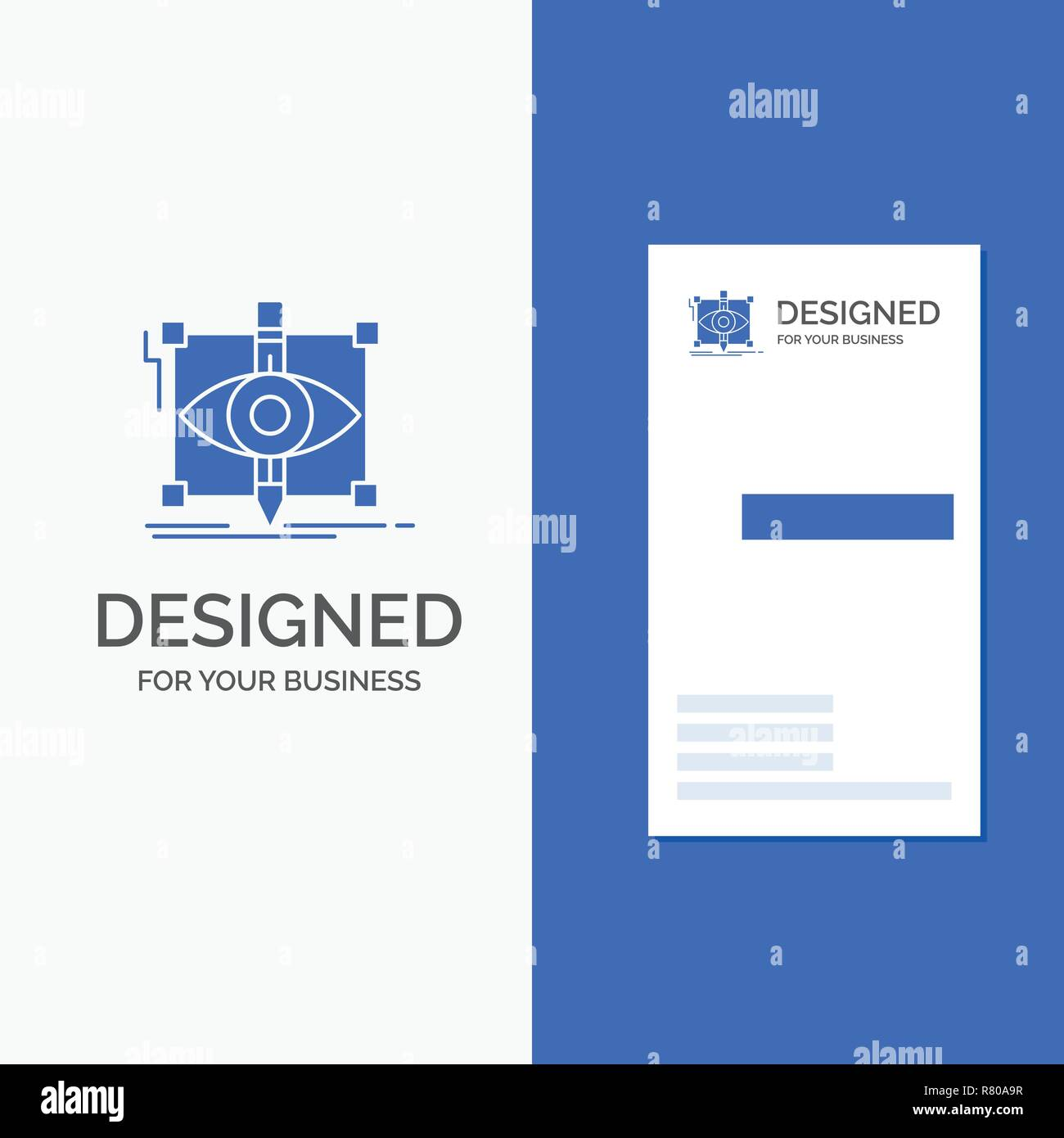 Business Logo for design, draft, sketch, sketching, visual. Vertical Blue Business / Visiting Card template. - Stock Image