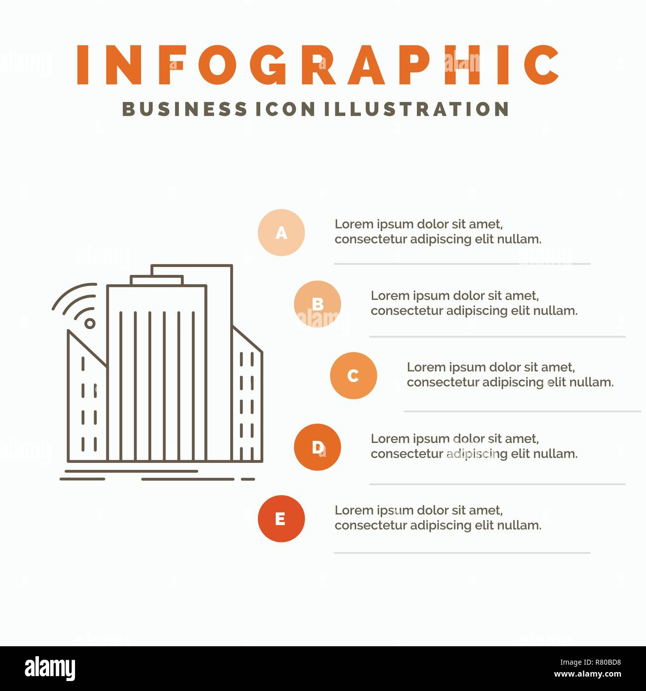 Buildings, city, sensor, smart, urban Infographics Template for Website and Presentation. Line Gray icon with Orange infographic style vector illustra - Stock Image