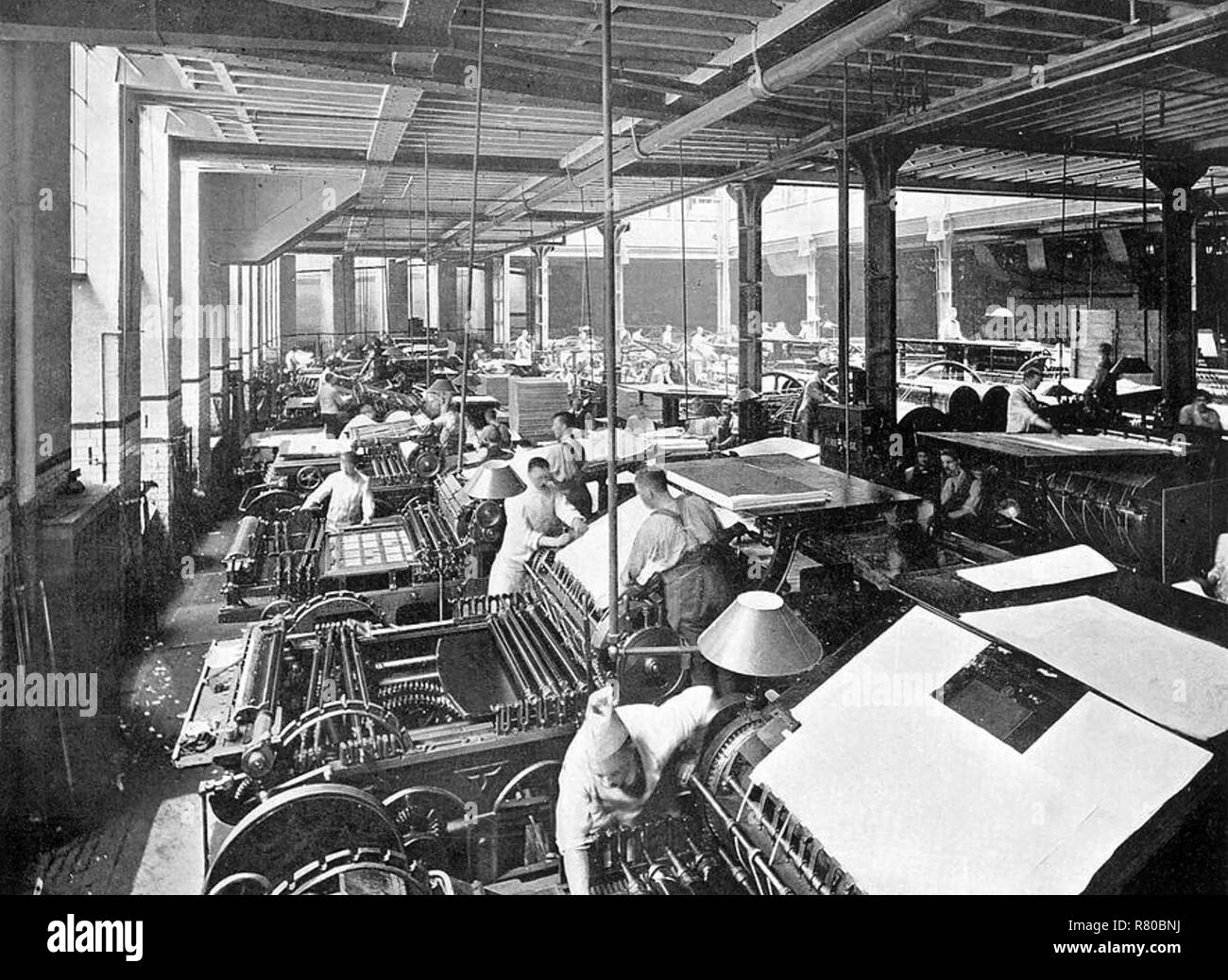 CASSELL & CO's printing works at La Belle Sauvage on Ludgate Hill,London, about 1912 - Stock Image