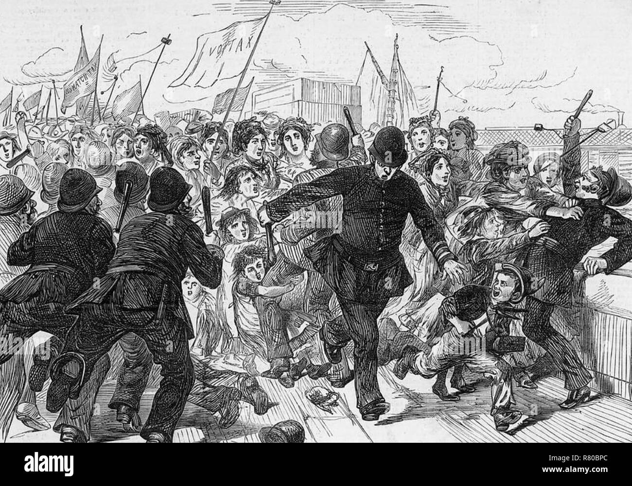MATCH WORKERS PROTEST 1871. London police attempt to break up the strike - Stock Image