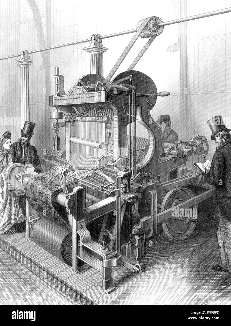 MOXTON & CO PATENTED CARPET LOOM which won a prize at the  1862 London International Exhibition in South Kensington. - Stock Image