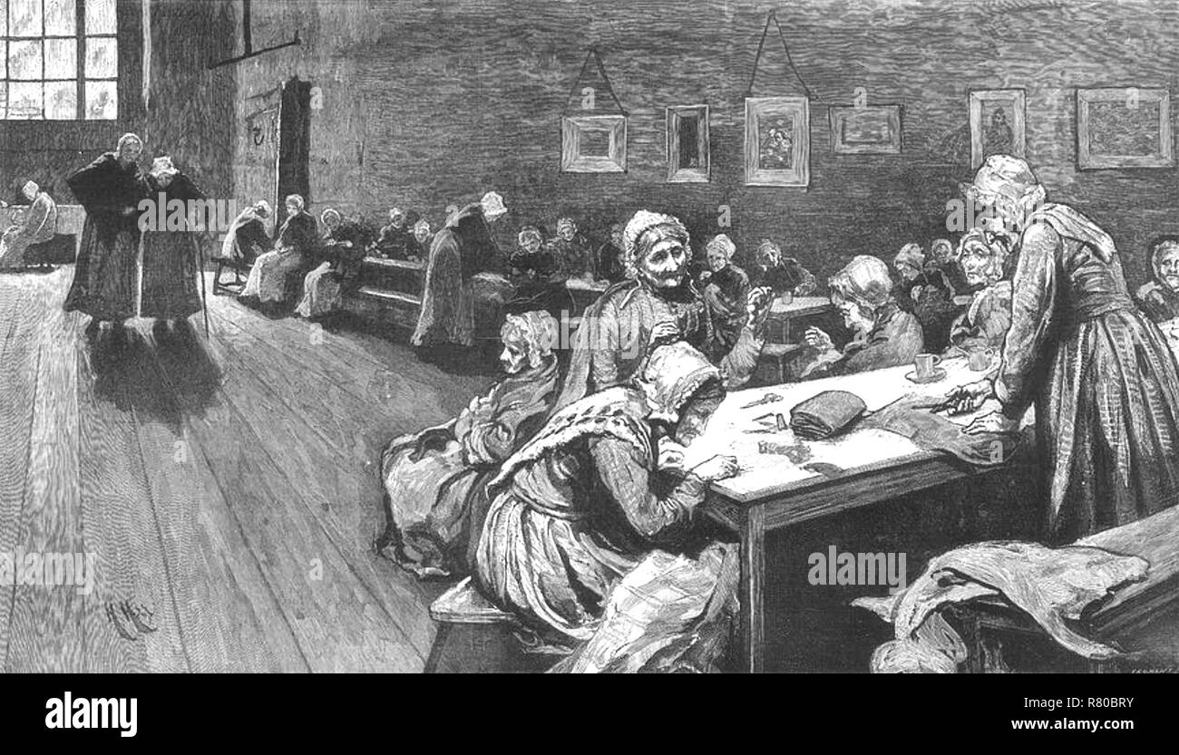 WESTMINSTER UNION WORKHOUSE for women in Poland Street, London, 1877 - Stock Image