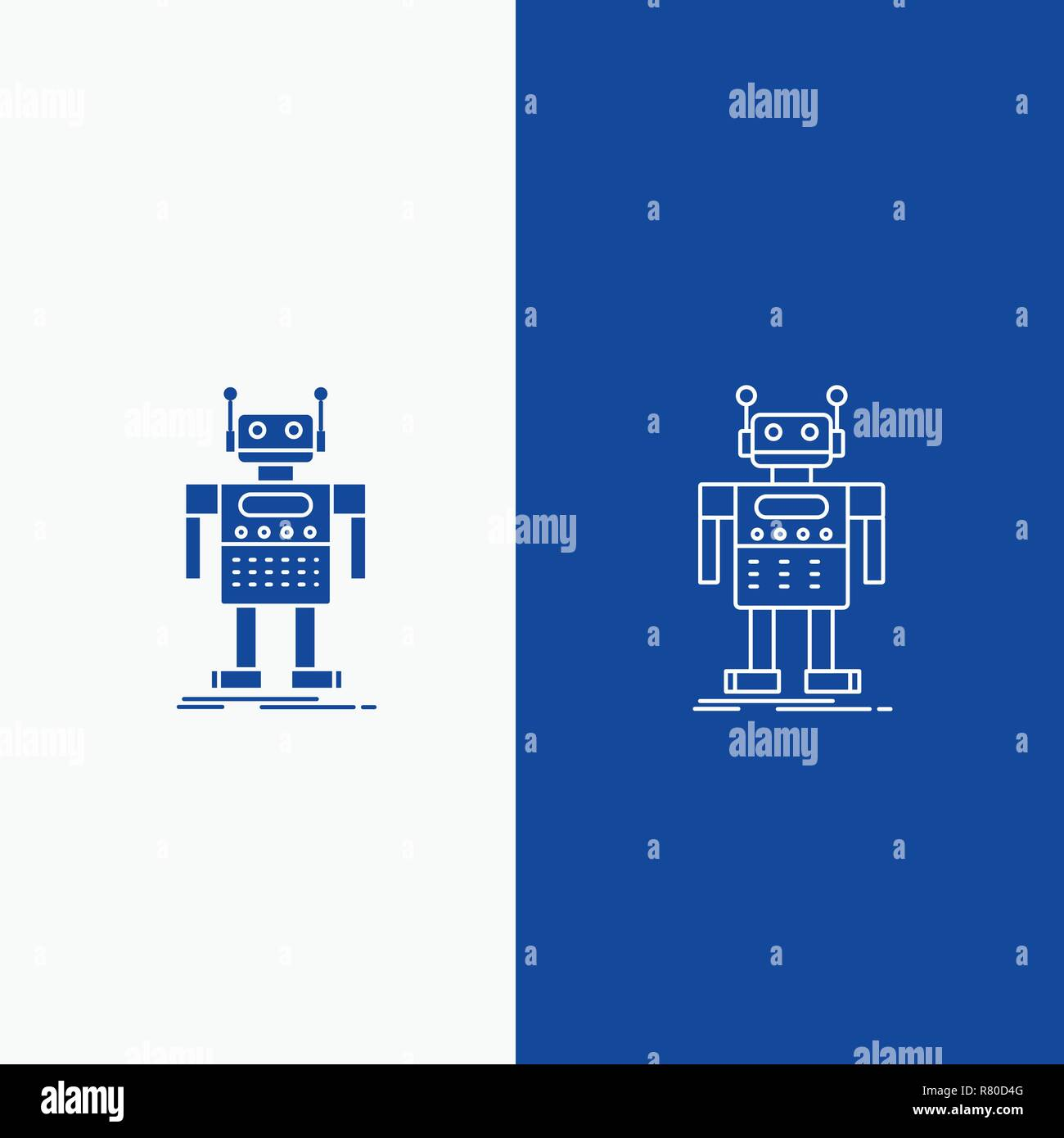 robot, Android, artificial, bot, technology Line and Glyph web