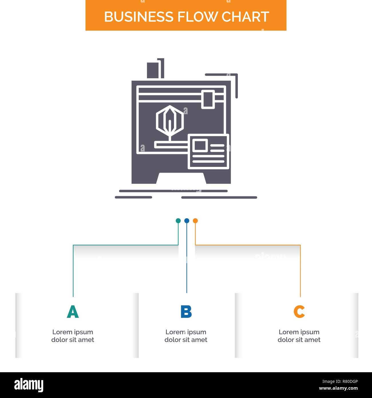 3d, dimensional, machine, printer, printing Business Flow Chart Design with 3 Steps. Glyph Icon For Presentation Background Template Place for text. - Stock Vector