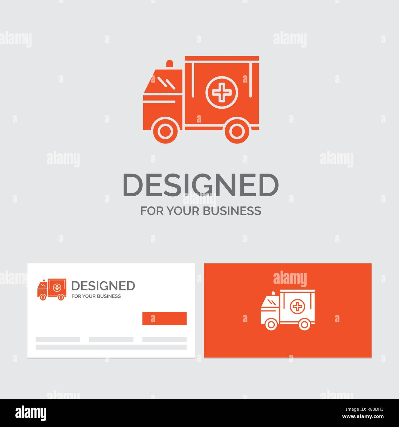 Business logo template for ambulance truck medical help van orange visiting cards with brand logo template