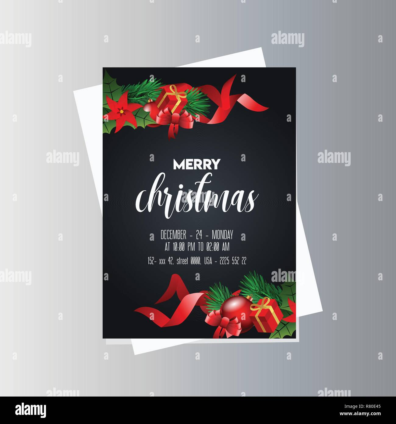 Christmas Party Flyer Template.Vintage Christmas Party Flyer Template Stock Vector Art