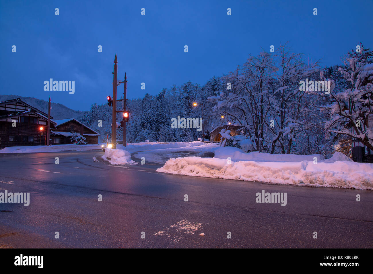 Urban atmosphere in the evening in winter background. - Stock Image