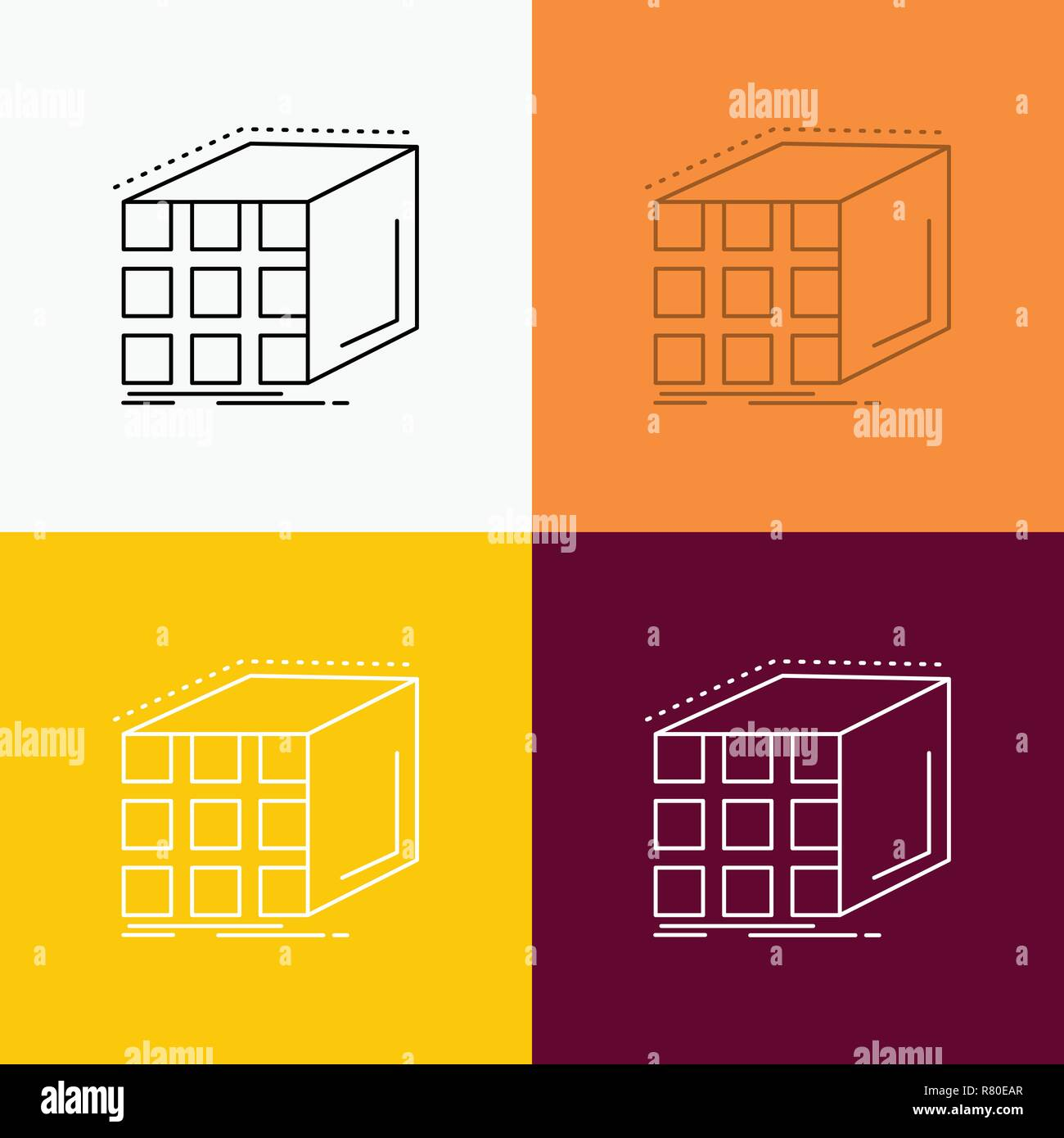 Abstract, aggregation, cube, dimensional, matrix Icon Over Various
