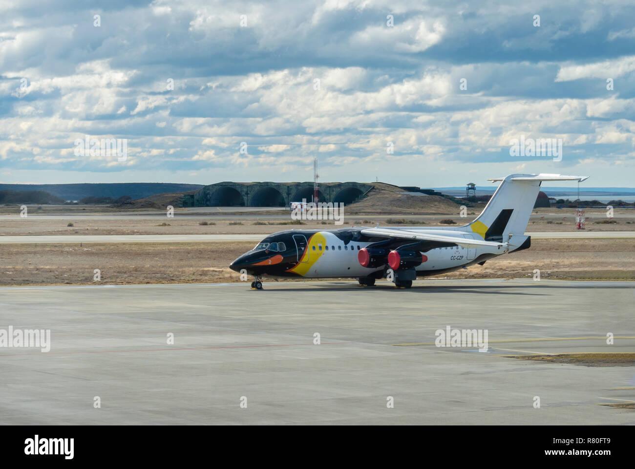 Antarctic Airways passenger airplane with penguin livery - Stock Image