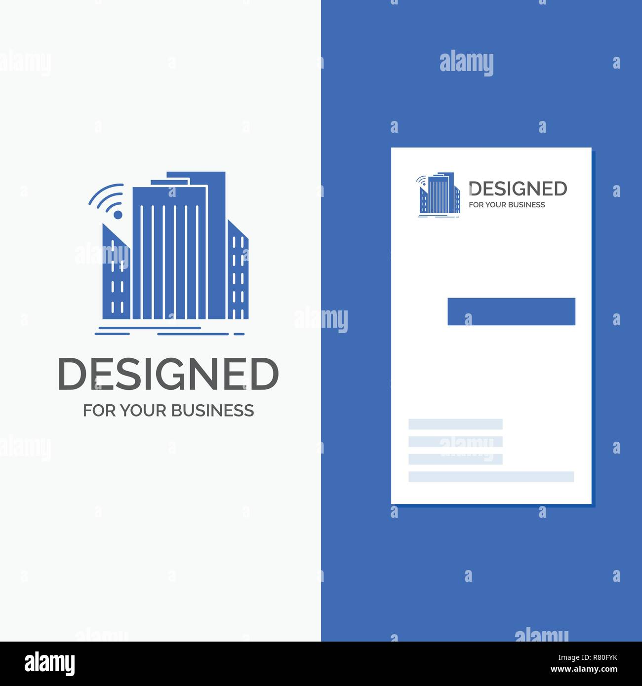 Business Logo for Buildings, city, sensor, smart, urban. Vertical Blue Business / Visiting Card template. - Stock Vector