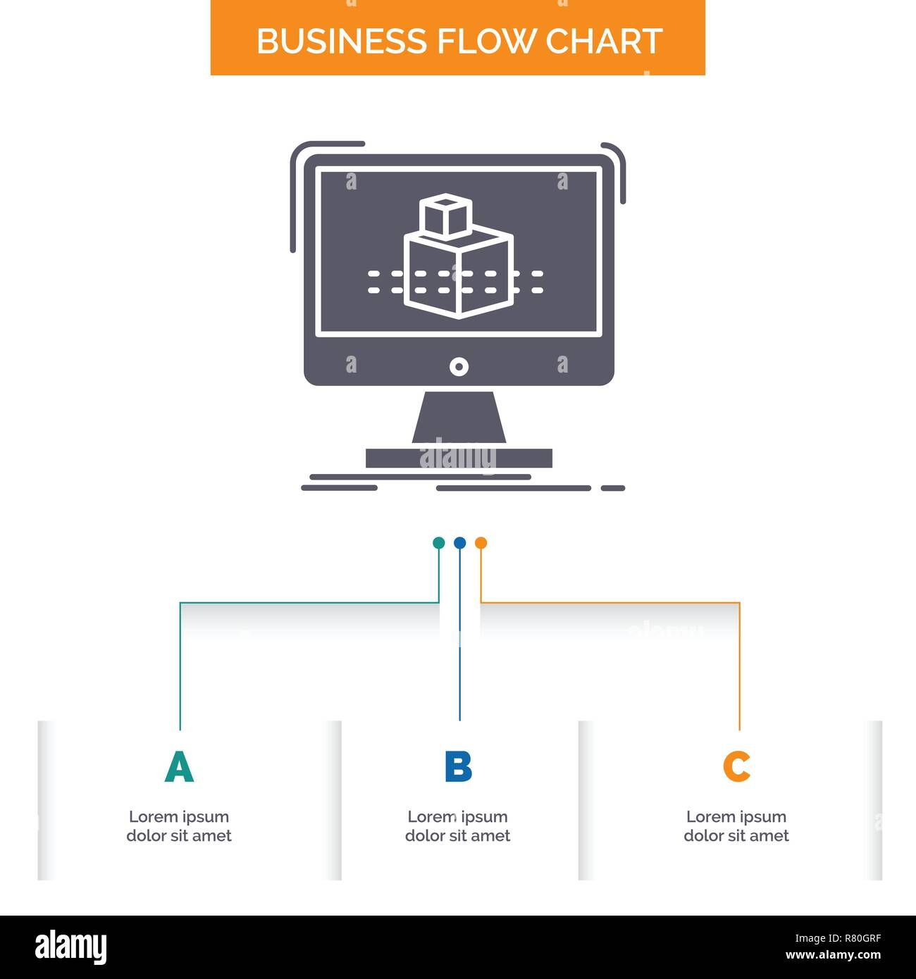 3d, cube, dimensional, modelling, sketch Business Flow Chart Design with 3 Steps. Glyph Icon For Presentation Background Template Place for text. - Stock Vector