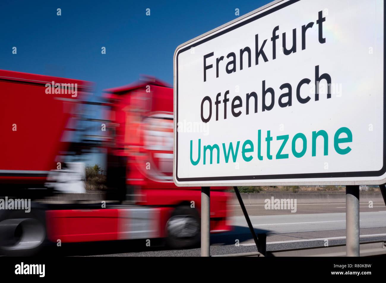 Sign marking a low-emission zone near the city Farnkfurt, Hesse, Germany - Stock Image