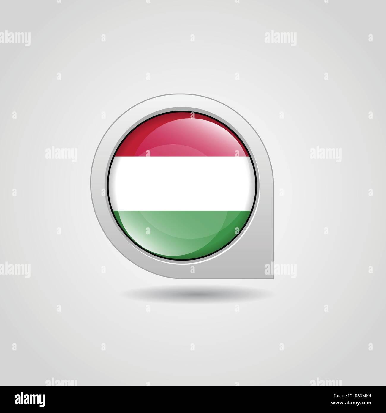 Hungary Flag Map Pin - Stock Vector