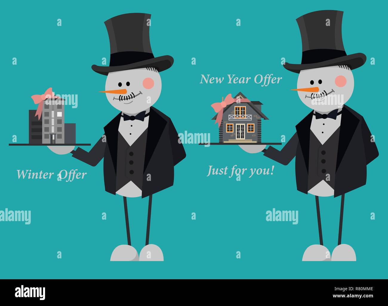 Snowmen in suits and top hats offering a new flat and country house just for you. New Year Offer. Stock Vector