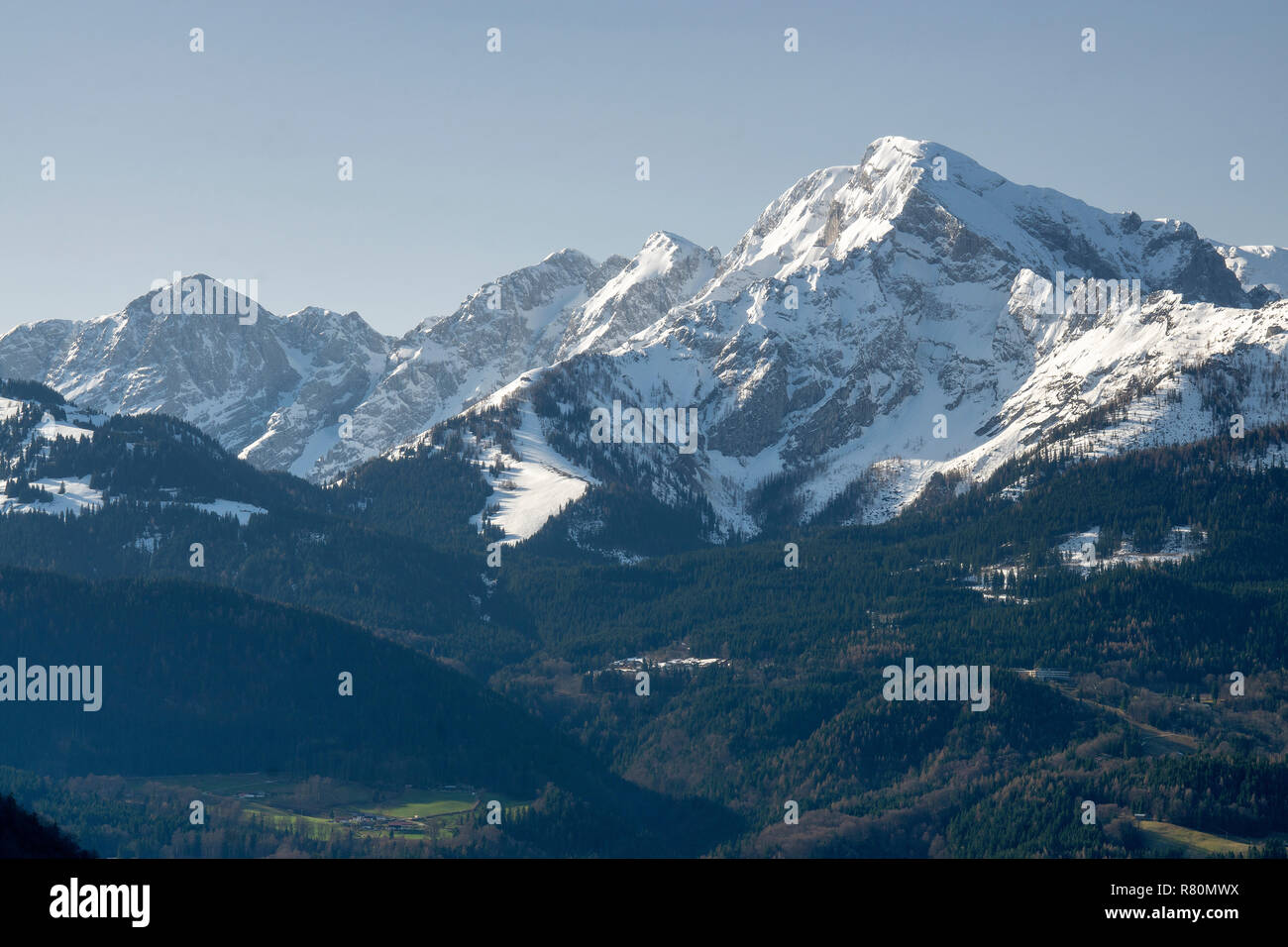 The mountain Hoher Goell (2522 m) at the end of the winter. Upper Bavaria, Germany Stock Photo