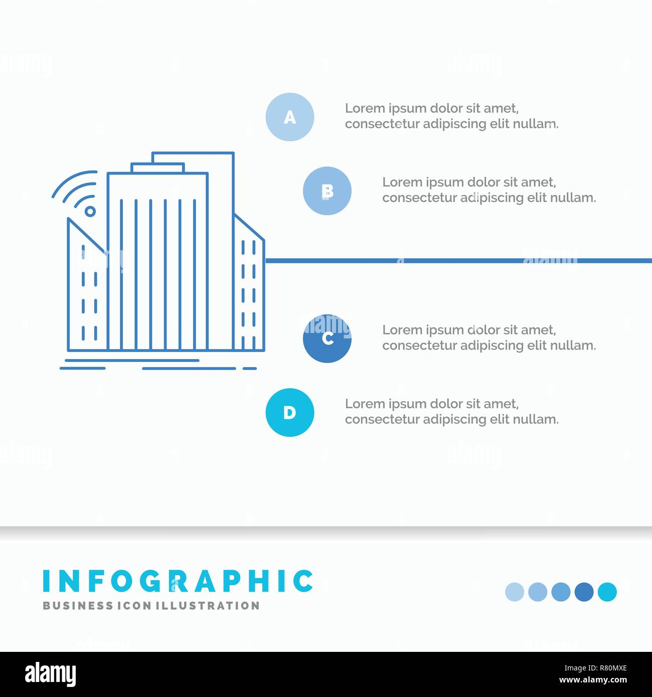 Buildings, city, sensor, smart, urban Infographics Template for Website and Presentation. Line Blue icon infographic style vector illustration - Stock Vector