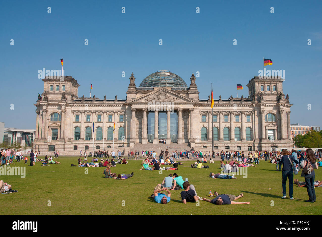 The Reichstag, the seat of the German Parliament, is one of Berlins most historical landmarks. Germany - Stock Image