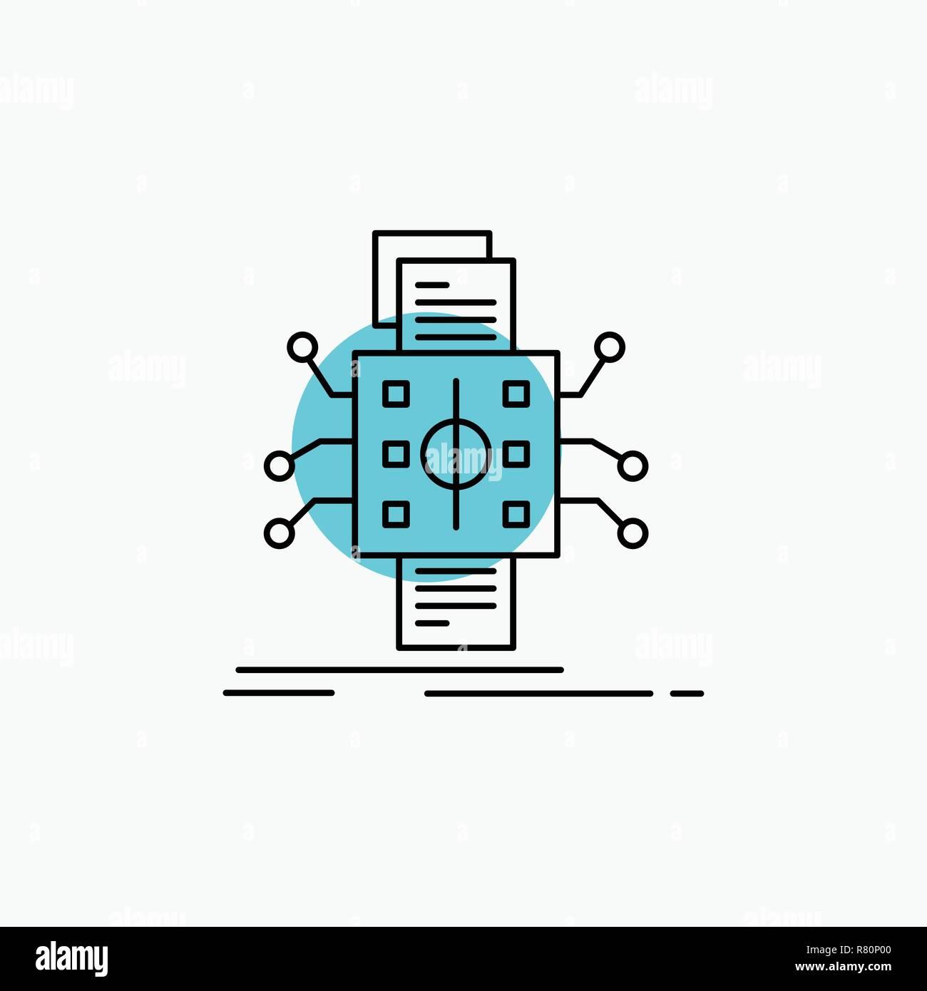 Analysis, data, datum, processing, reporting Line Icon - Stock Image